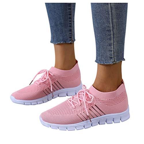 Laonajkd Frauen Mesh Casual Schnür Sportschuhe Laufen Atmungsaktive Schuhe Turnschuhe Leichtgewichts Walkingschuhe Outdoor Fitness Jogging Sportsschuhe