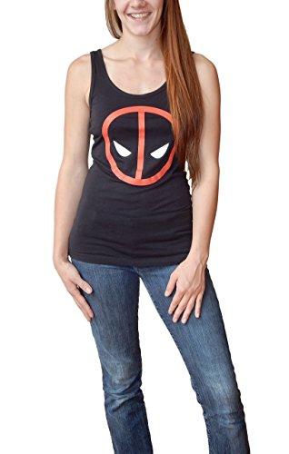 Marvel Deadpool Logo Juniors Tank Top Tee Large Black