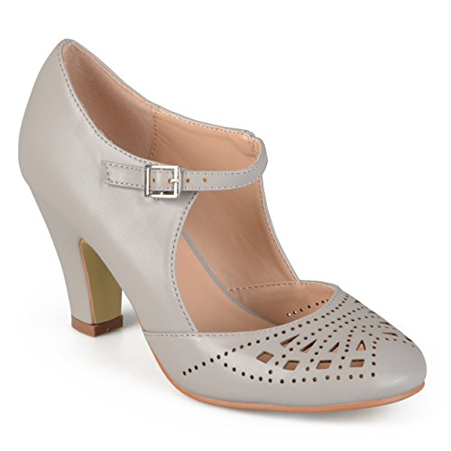 Journee Collection Womens Round Toe Cutout Mary Jane Pumps Grey, 7.5 Regular US