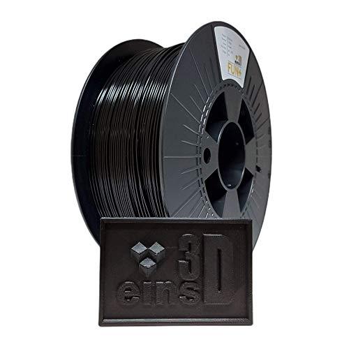PLA Fun+ eins3D, Filament für den 3D Druck, 1.75mm Durchmesser, 1 kg Rolle, EU Ware - SCHWARZ (schwarz)