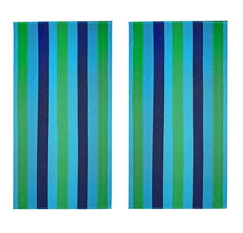 COTTON CRAFT - 5-Pack Striped Terry Beach Towels- 30x60 Inches - 100% Absorbent Cotton - Assorted Family Set for Pool – 450 GSM - Each Towel Weighs 1.15 Lbs.