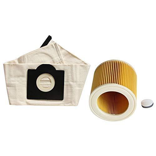 Bolsa de filtro de repuesto para Karcher WD2250 A2004 A2054 MV2 MV3 Partes de aspirador Accesorios 3 piezas Filtros Cepillo