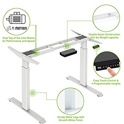"""AdvanceUp Dual Motor Adjustable Electric Stand Up Office Desk Frame, 47"""" Height & 63"""" Width, Support 220 lbs with 4 Memory Presets, White, Motorized Ergonomic Standing Workstation, Frame Only"""