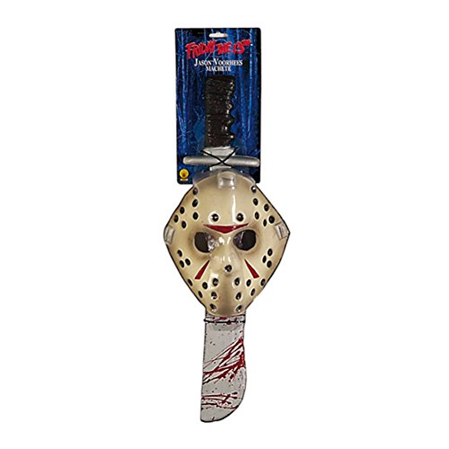 Jason Voorhees Maske und Machete Lizenzware Freitag der 13. Kostüm Zubehör Halloween Accessoire