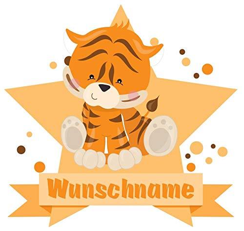 Samunshi® Tiger Wandtattoo Türschild mit Name personalisierbar Kinderzimmer Türaufkleber Baby Wandaufkleber in 9 Größen (25x22cm Mehrfarbig)