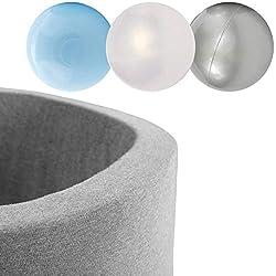 MISIOO Piscine Sèche Smart 90x30 cm Ronde pour bébés et Tout-Petits, Gris Clair avec 150 balles colorées (Gris: Argent-nacré-Bleu clair/150 balles)