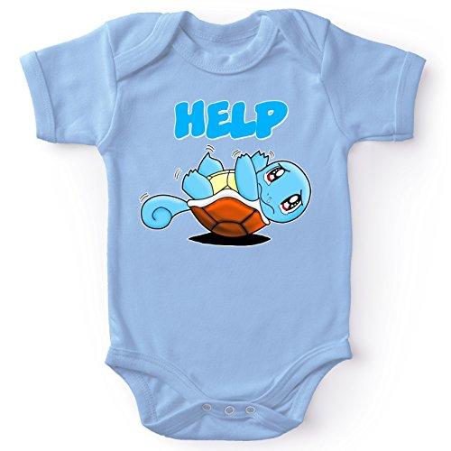 Okiwoki Body bébé Manches Courtes Garçon Bleu Parodie Pokémon - Carapuce - Help !!!(Body bébé de qualité supérieure de Taille 18 Mois - imprimé en France)
