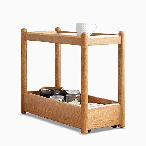 Home&Selected fineer/bijzettafel voor de woonkamer, hardglas, slaapkamer, massief hout, zijkant, hoekbank, tafel, draagbaar, 2-laags, rechthoekig, 27,9 inch 11,4 inch 20,8 inch