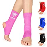 WYOX Ankle Wraps Support Boxing Gear for Men Women Muay Thai Ankle Support Kickboxing Wraps Gym Ankle Support (Pair) (Pink, L/XL (Women 7.0-10.5/ Men 6.0-9.5))