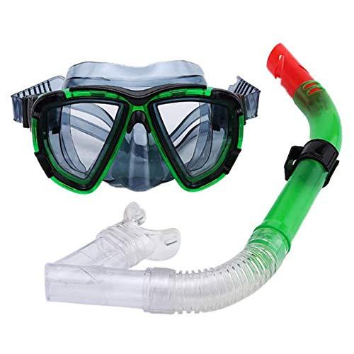 Seguro 2 Piezas Profesional Gafas de Bucear Easybreath Set de Buceo Gafas de Natación Adultos Tubo Respirador Máscara de Buceo Máscara Snorkel Anti-Niebla Anti-Fugas Antideslizante ( Color : Green )