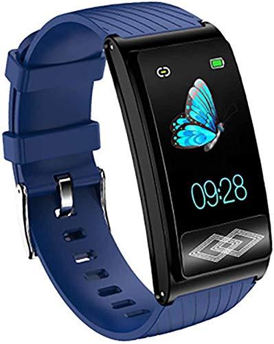 Smartwatch, 24-Stunden-Holter, Überwachung, HRV-Test, AI-Analyse von 32 EKG-Krankheiten, Schlafüberwachung, Informationserinnerung, IP68 wasserdicht, blau