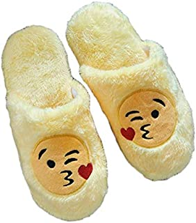 Soft Cotton Indoor Floor Expression Slippers Cute Emoji House Shoes Soft Bottom Winter Warm Slippers Slipper For Unisex For Bedroom(Asian Size 36-37)