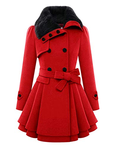 Tanming Womens Winter Thicken Lapel Wool Blend Double Breasted Coat Trench Coat (Red, Small)