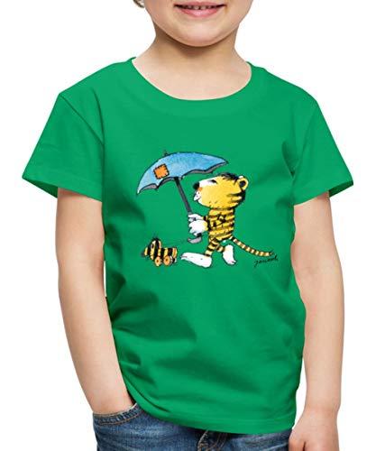 Janosch Kleiner Tiger Tigerente Mit Schirm Kinder Premium T-Shirt, 122-128, Kelly Green