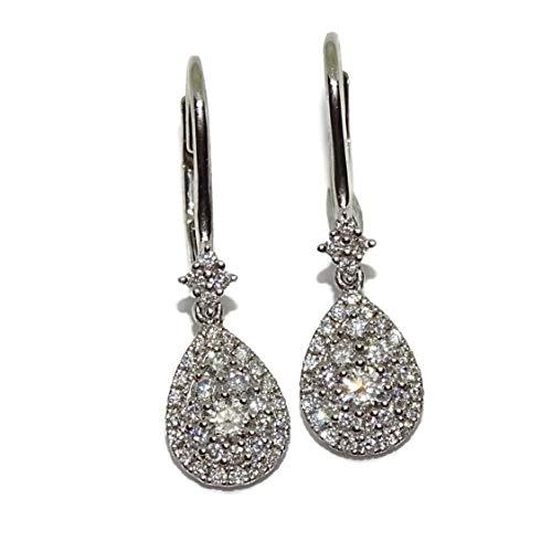 Pendientes de oro blanco de 18k con 0.69cts de diamantes talla brillante. 2.40cm de largos. Ideal novias, pedidas, noche.