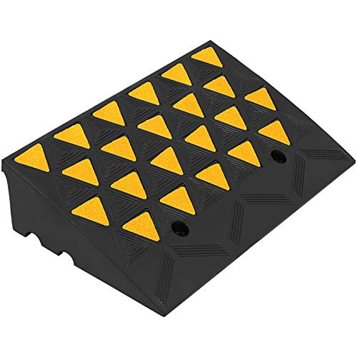 Mophorn Curb Ramp 23-1/2' Length Yellow, 6' High Rubber Curb Ramp, Heavy Duty Sidewalk Curb Ramp, 5 Ton Driveway Ramp for The Curb Forklifts Trucks Buses