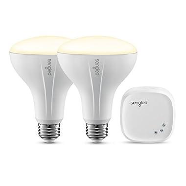 Sengled Element Classic Smart LED Light Bulbs, BR30 Dimmable LED Light Soft White 2700K 60W Equivalent, Starter Kit (2 BR30 Bulbs + hub), Works with Alexa/Google Assistant/IFTTT