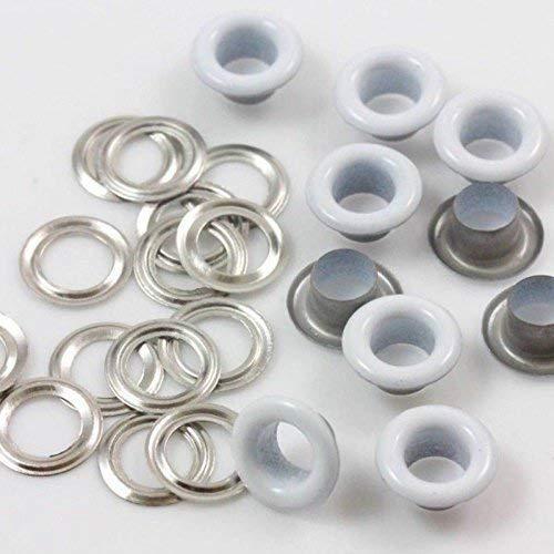Trimming Shop 5mm Blanc Passages Oeillets avec Argent Rondelles pour Tissu Rideaux Cuir Bâche Vinyle Arts & Artisanat