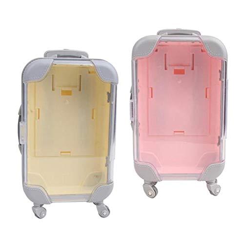 SM SunniMix 2pcs Plastic Travel Suitcase Deco Dollhouse Home Accessories