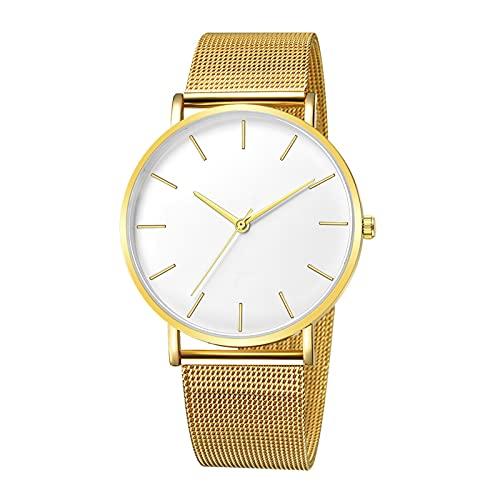 Qagazine Reloj de cuarzo con banda de malla de metal, espejo de cristal y esfera redonda, reloj de pareja, reloj de pulsera de moda para mujeres y hombres