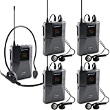 EXMAX UHF-938 UHF Acoustic Transmission Wireless Headset Microphone Audio Tour Guide System 433MHz for Church Translation Teaching Travel Simultaneous Interpretation.(1 Transmitter and 4 Receivers)