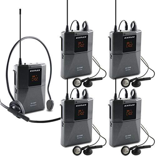 EXMAX UHF-938 UHF - Auriculares inalámbricos de transmisión acústica, sistema de guía de audio de 433 MHz para traducción de la iglesia, enseñanza de viajes interpretación simultánea (1 transmisor y 4