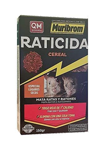 Quimunsa - Raticida en Cereal 150g Veneno Ratones, Ratas y roedores