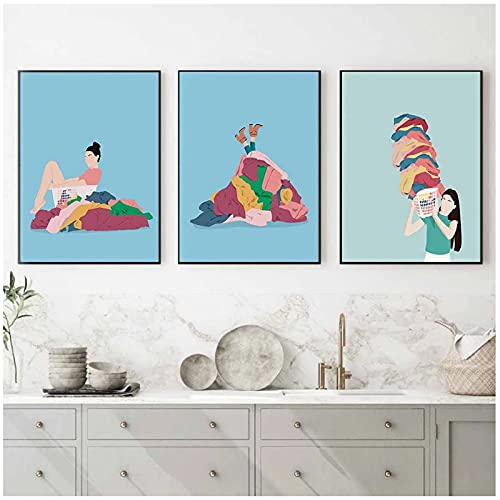 kakyd Tvätt Rolig Satir Wall Art Canvas Målning Tvättstuga Väggdekoration Affischer Och Tryck Väggmålning Badrumsdekoration -40X60Cmx3 Ingen Ram