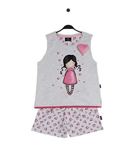 Santoro Gorjuss Pijama de 2 piezas de camiseta + pantalón corto 55575 de algodón para primavera/verano, original y auténtico, ideal para niña/niña, en bonita caja de regalo gris 10 años