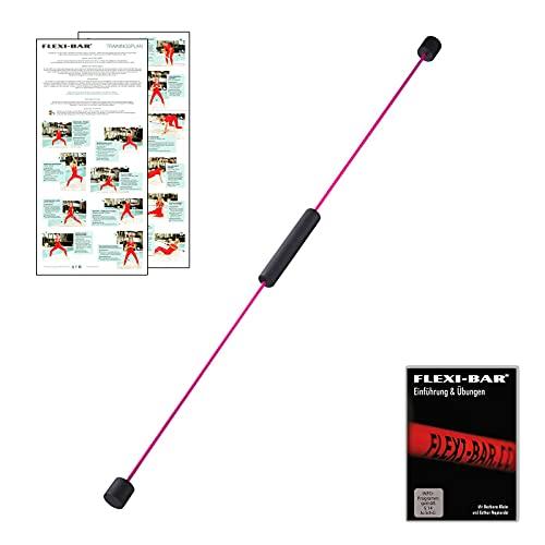 FLEXI-BAR® Standard Pink (Exklusiv bei Ergobasis), hochbelastbarer Schwingstab von Flexi-Sports mit Tasche violett, Einführungs-DVD und Trainingsplan, Schwungstab, Schwingstick