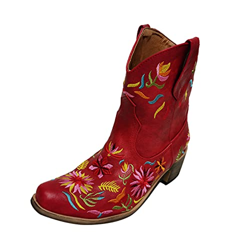 YWLINK Tacón Cuadrado Para Mujer Botines De Tobillo Vaquero Bordado Vintage Pu Artificial Floral Botas Occidentales Forro De Pieles Resistentes Al Desgaste Invierno Deslizamiento (Rojo, 38)