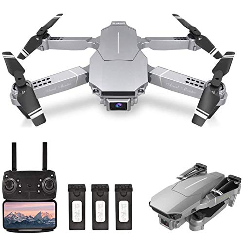 KLJJQAQ RC Drone with 4K HD Camera, WiFi FPV Drone for Adults, Foldable RC Quadcopter with 3D FILP, Headless Mode, Altitude Hold, Track Flight, Storage Bag,Silver,3 Batteries