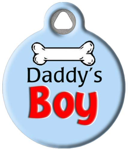 Dog Tag Art Custom Pet ID Tag for Dogs - Daddy's Boy - Large - 1.25 inch