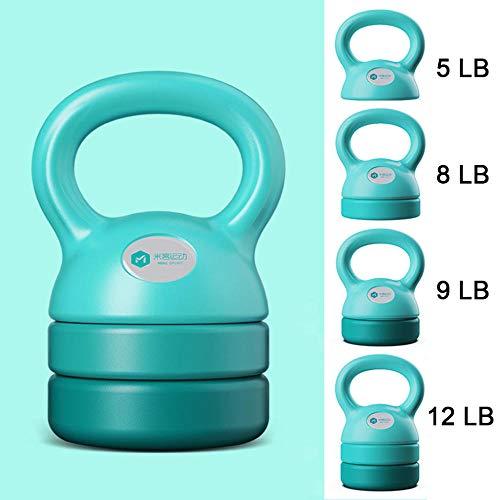 LIUYUE Kettlebell, Einstellbare Kettlebell(5LB/8LB/9LB/12LB) Fitness-Kugelhantel Kurzhantel-Kniebeuge-Ausrüstung Verschleißfeste Basis-Blau