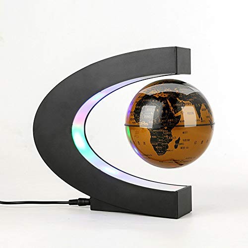 leyishanghao Glowing Magnetic Levitation Globe, C-Shaped Base, World Map, Cool Creative Gift for Best Business Man/Father/Boyfriend/Child/Teacher, (Golden)