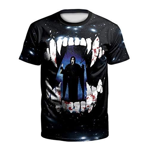 Herren Kompressionshemd Halloween Europa und die Vereinigten Staaten Street Parade 3D Horror Print Large Size Kurzarm T-Shirt, M