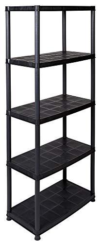 Super-Deal: Kunststoffregal mit 5 Böden und Einer Traglast von 30 kg pro Boden (gesamt 150 kg), teilbar als 3+2 Regal durch modularen Aufbau sowie zusätzlichen Kappen und Füße