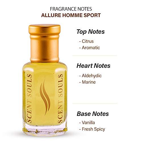 Scent Souls Channel Allure Homme Sport Perfume/Fragrance Oil , Roll-on Attar for Men Inspired , 3 ml