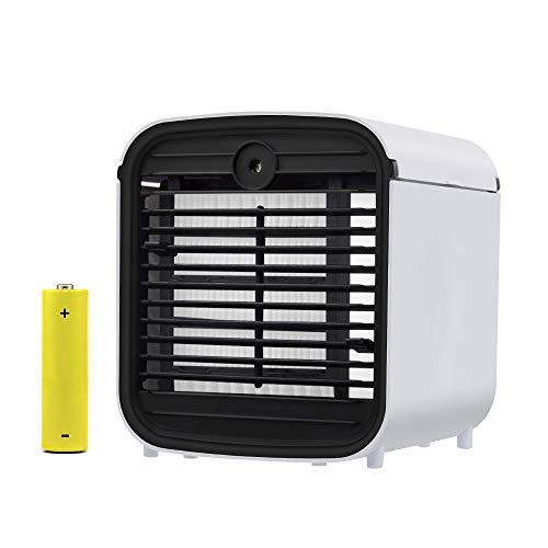 Mobile Klimageräte, 4 in 1 Air Cooler Mini Luftkühler, Luftbefeuchter & Luftreiniger Ventilator mit Batterie und 7 Farben LED-Licht für Office Home Outdoor Reisen