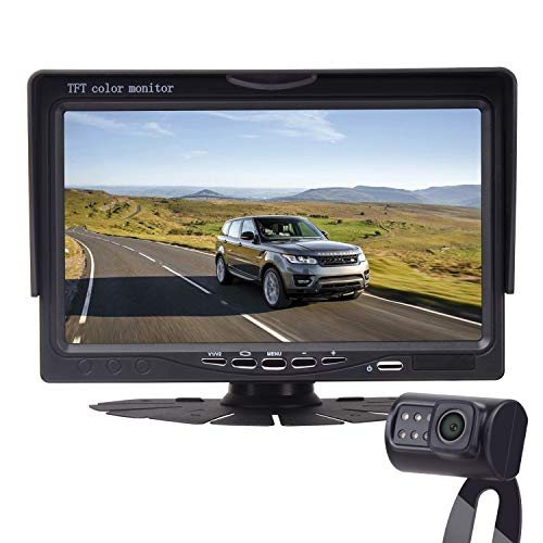 LeeKooLuu Backup Camera and 7' Monitor Easy Installation Parking/Driving Observation System for Cars,SUVs,Pickups,Trucks,Motorhomes,Bus,Vans Rear/Front View IP68 Waterproof Super Night Vision