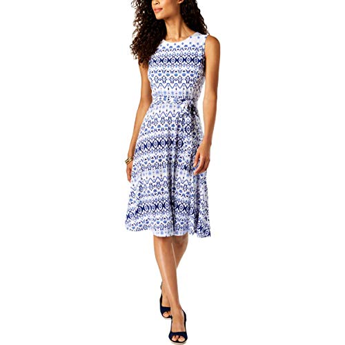 Price comparison product image Charter Club Printed Fit & Flare Dress (Modern Blue Iconic Combo,  XL)