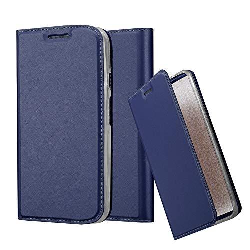 Cadorabo Hülle für Motorola Moto G2 - Hülle in DUNKEL BLAU – Handyhülle mit Standfunktion und Kartenfach im Metallic Look - Case Cover Schutzhülle Etui Tasche Book Klapp Style
