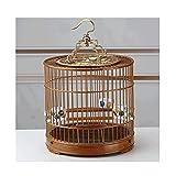 TEAYASON Jaula para Pájaros Portátil con Soporte Rodante, Jaula de Bambú para Vuelo de Pájaros para Exteriores para Willow Warbler Jade Bird, Etc, Marrón