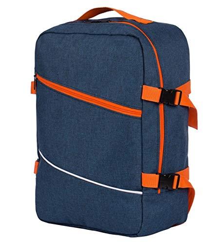 Multifunctionele handbagage rugzak gewatteerde vliegtuigtas handtas reistas rugzak gevoerde koffer voor vliegtuigformaat 40x30x20cm gekleurd (102], marineblauw - oranje (meerkleurig) - TOR-SAM-25