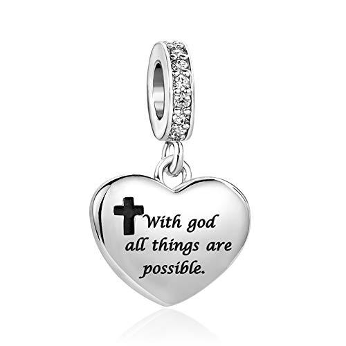 MiniJewelry Women Bible Black Cross Love Heart Charm for Bracelets fits Pandora Charms Bracelets With God All Things are Possible Matthew 19:26