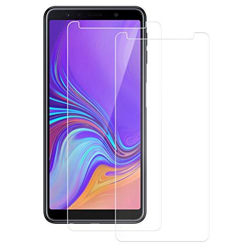 Mkej [2 Stück] Panzerglas-Folie kompatibel mit Samsung Galaxy A7 2018 - Blasenfrei Panzerglas Pro Schutzfolie, HD Panzerglasfolie 9H Festigkeit, Anti-Kratzen Panzerfolie, 3D Touch Bildschirmschutzfolie