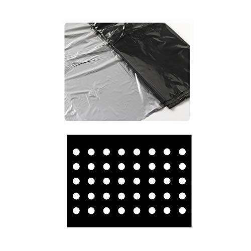 Toile de paillage en plastique noir pour jardin - Membrane PE - Bâche de sol avec trous de plantation - Film plastique pour potager et plantes, 10 x 1.35m