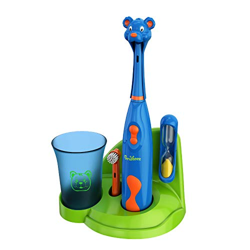 Brusheez儿童电动牙刷套装 - 巴迪熊 - 包括电池,电动牙刷,2个刷头,可爱的动物封面,沙漏,涮杯和储备基地