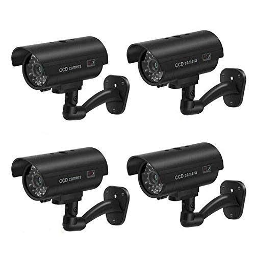BW Lot de 4 caméras de sécurité factices CCTV, utilisation en intérieur et extérieur, LED clignotante