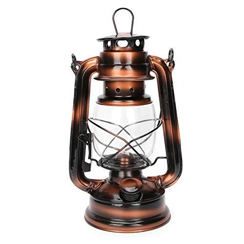 DAUERHAFT Lámpara de Aceite de Queroseno de Hierro, Linterna de Aceite Colgante de Bronce, lámpara de Queroseno de huracán Vintage, Linterna encendida, para decoración de Exteriores de Pub en casa